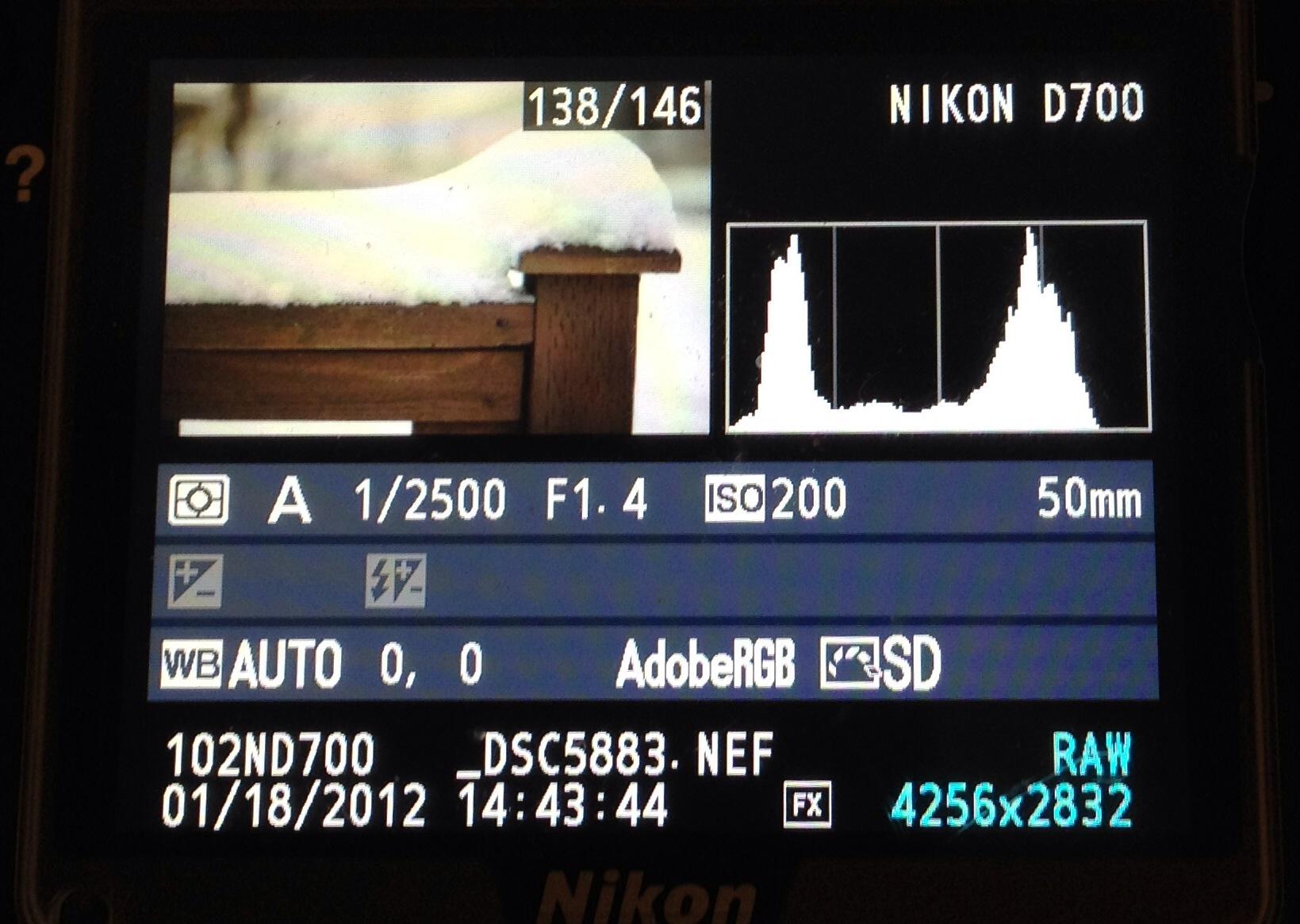 Histogram na wyświetlaczu LCD w aparacie