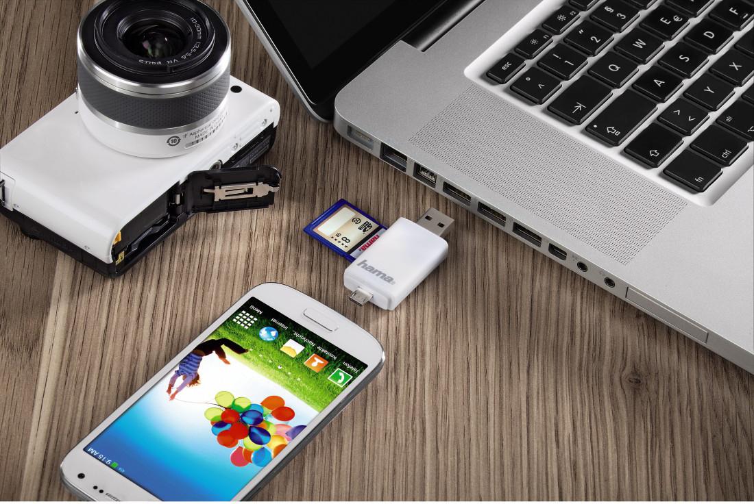 Czytnik Hama USB 2.0 SD do tabletów i smartfonów pozwala na swobodne przenoszenie plików pomiędzy różnymi rodzajami urządzeń.
