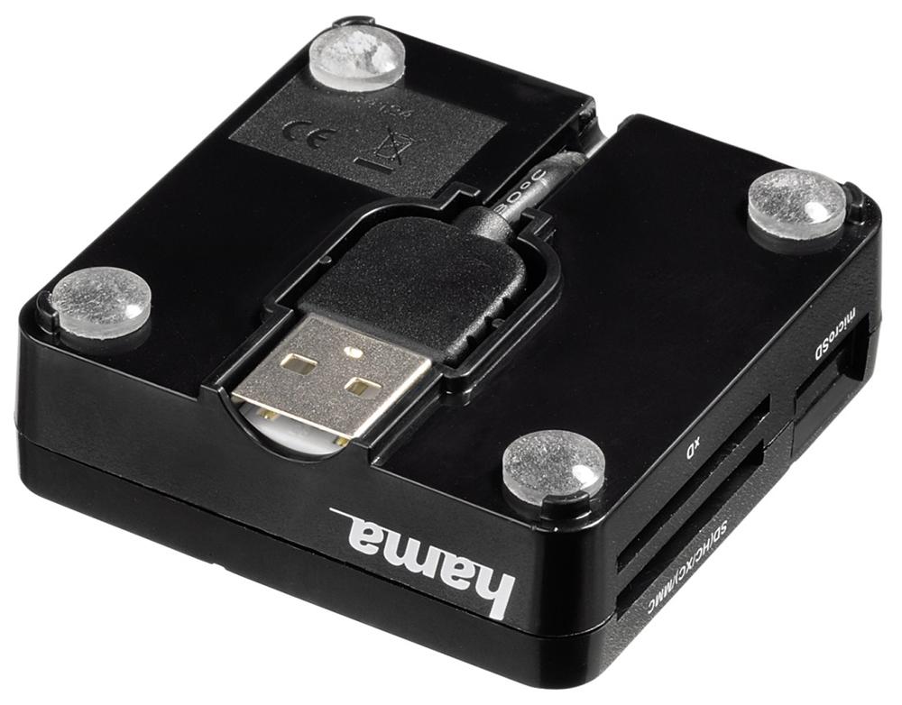 Czytnik Hama ALL IN ONE BASIC posiada specjalny uchwyt na kabel, dzięki czemu nie trzeba pamięć o tym, by zabrać go z domu.