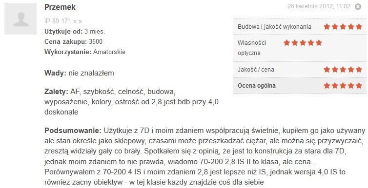 Źródło: www.optyczne.pl – opinia na temat obiektywu Canon 70-200/2.8 L