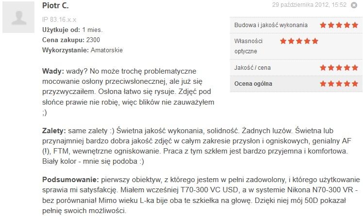 Źródło: www.optyczne.pl – opinia na temat obiektywu Canon 70-200/4 L