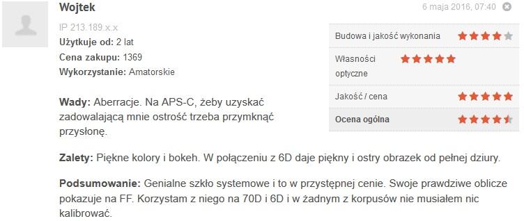 Źródło: www.optyczne.pl – opinia na temat obiektywu Canon 85/1.8