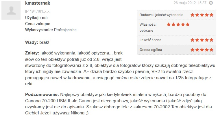 Źródło: www.optyczne.pl – opinia na temat obiektywu Nikon Nikkor AF-S 70-200 mm f/2.8G ED VR II