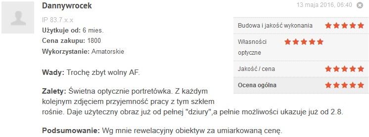 Źródło: www.optyczne.pl – opinia na temat obiektywu Nikon 85/1.8 G
