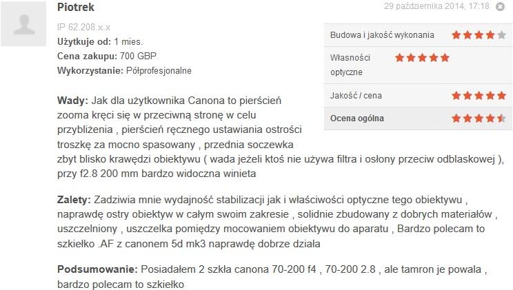 Źródło: www.optyczne.pl – opinia na temat obiektywu Tamron 70-200/2.8 VC USD G1