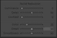 Panel Noise reduction w programie Adobe Lightroom.