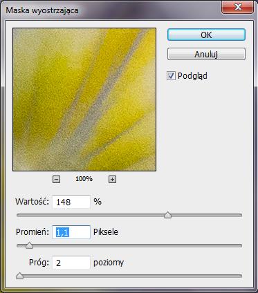 Okno filtra Maska wyostrzająca / Unsharp mask w programie Adobe Photoshop.