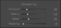 Panel Sharpening dostępny w Adobe Lightroom.