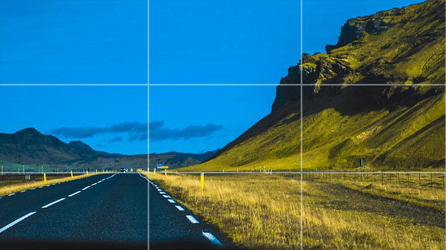 Zwróć uwagę jak linia horyzontu pokrywa się z dolną linią siatki trójpodziału.
