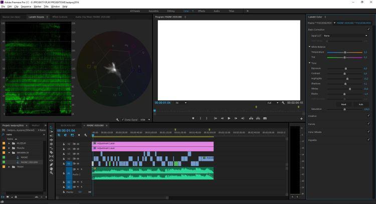 Premiere Pro CC 2015 - układ okienek