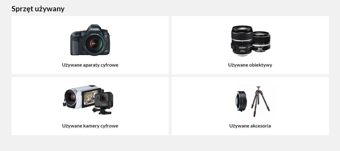 Ze sprzętu używanego dostępne w naszej ofercie są aparaty, obiektywy, kamery i inne akcesoria
