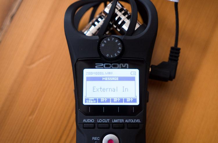 Zoom H1n - przykładowy komunikat