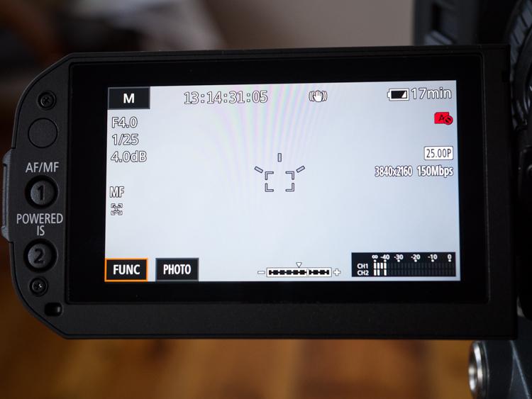 Canon Legria GX10 - wyświetlanie podstawowych parametrów obrazu