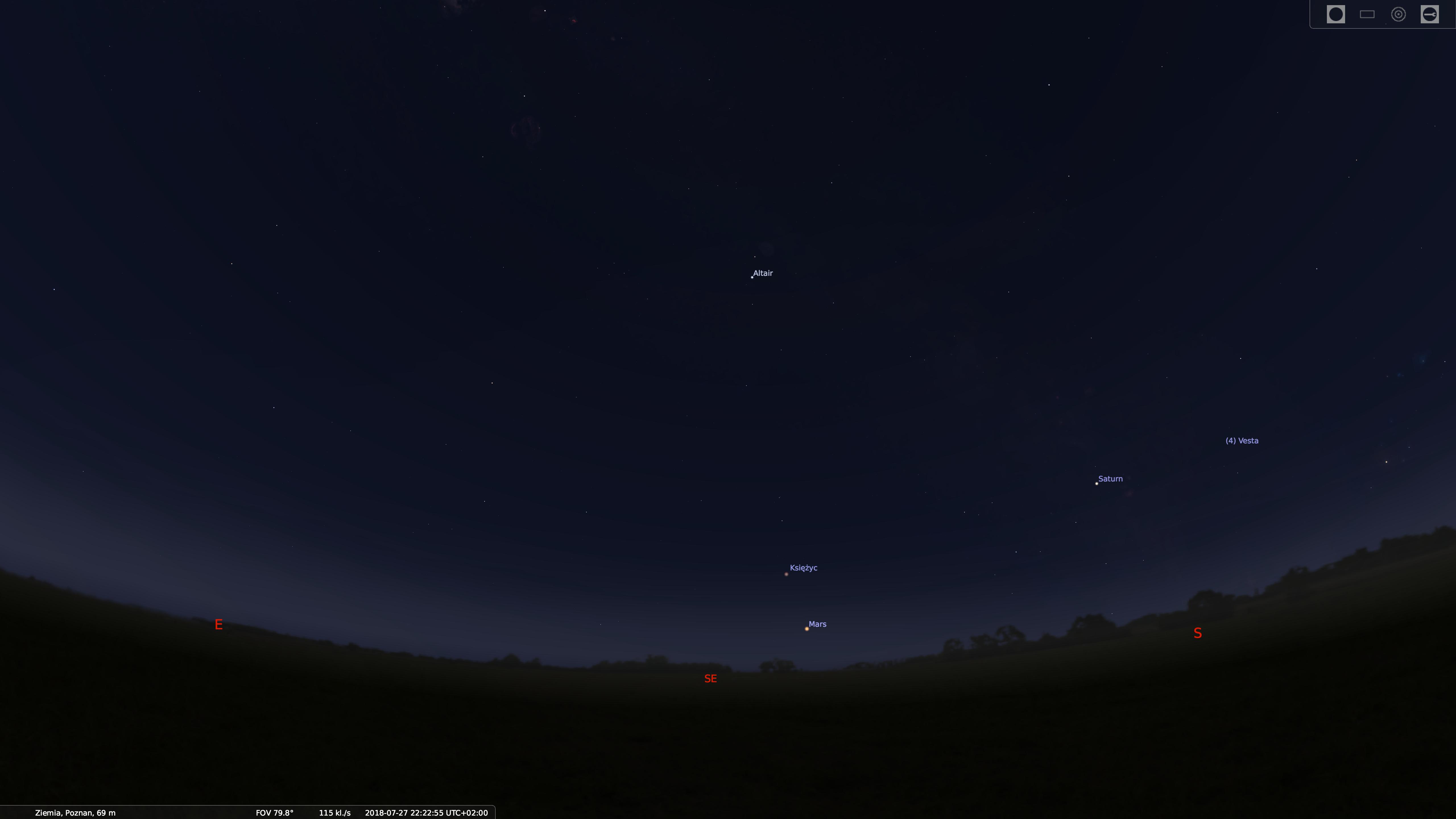 zaćmienie księżyca stellarium zrzut 1