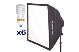 Lampa Funsports Z softboxem 6-świetlówkowym SQ-606 60x60cm + 6x świetlówka 30W