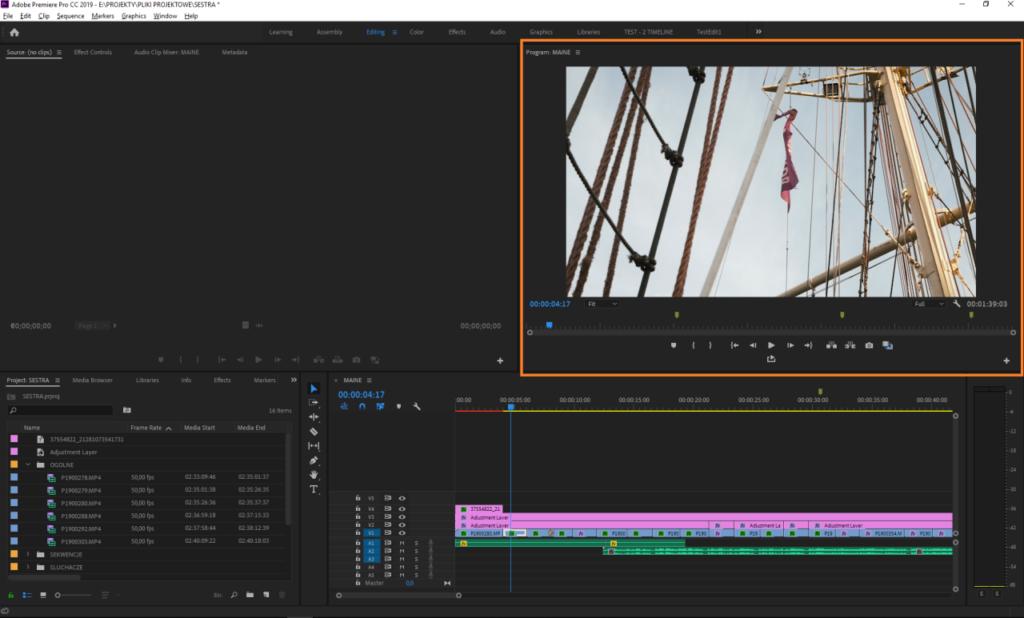 Okno podglądu- Adobe Premiere Pro