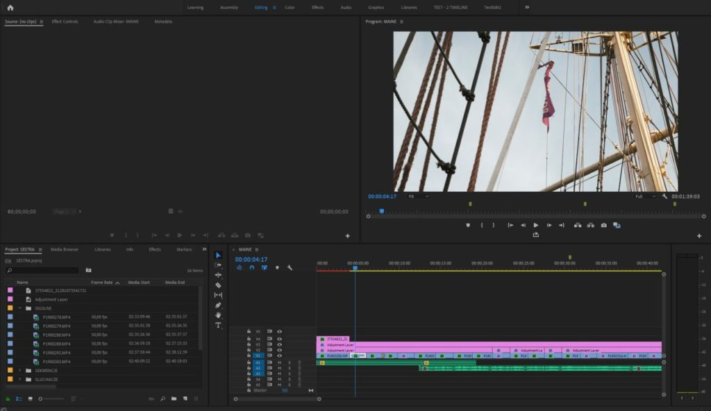 Adobe Premiere Pro CC - widok prosty