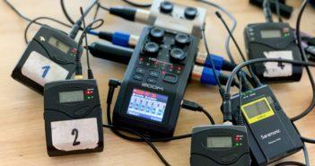 Rejestrator Zoom H6 z podpiętymi mikroportami