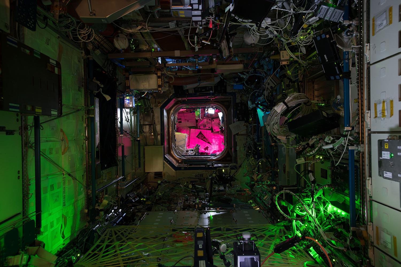 Wnętrze ISS wygląda jak scena z filmu science-fiction. / Źródło: NASA