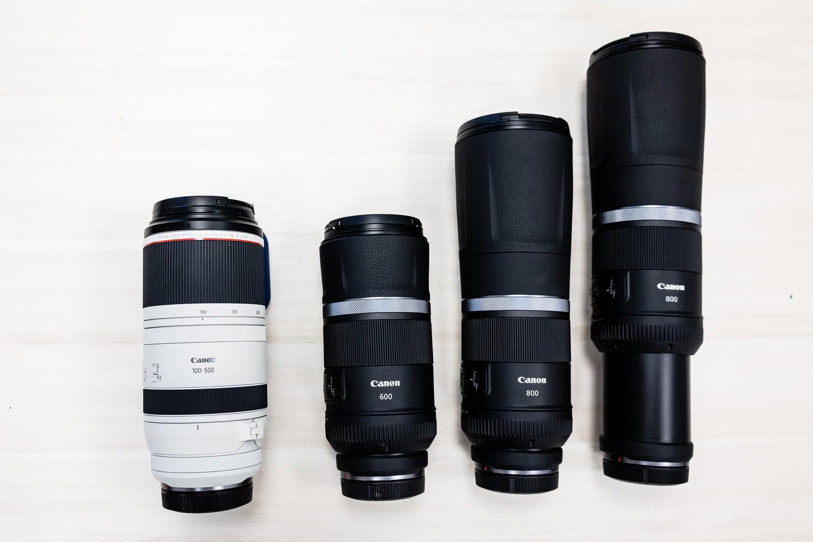 Teleobiektywy Canon: RF 100-500, RF 600, RF800 (drugi z wysuniętym tubusem) fot. Jarosław Responde