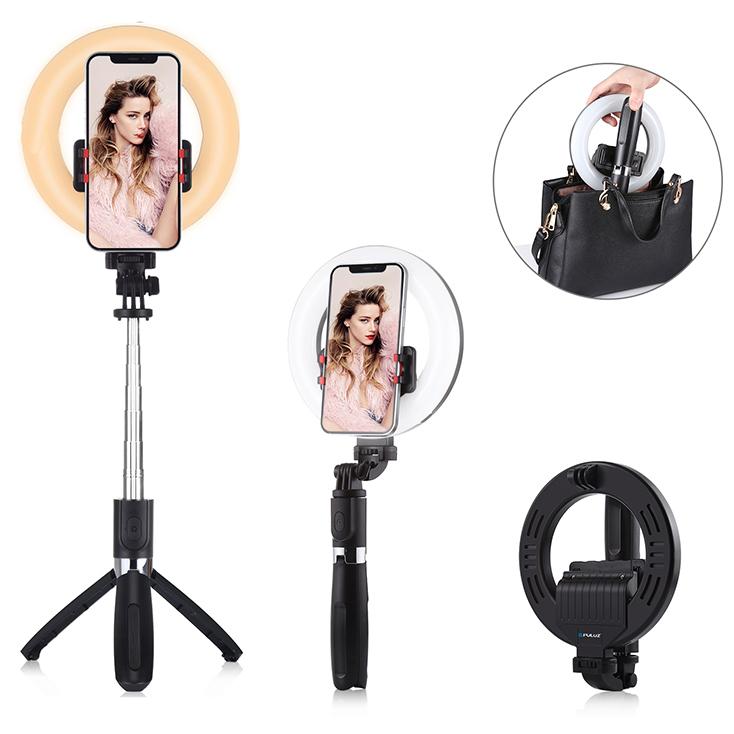 Puluz Selfie stick ma pierścieniową lampę LED z 9 stopniową regulacją i 3 kolorami emitowanego światła. Można ładować ją szybko kablem usb, działa z Bluetooth i posiada pilota. Opcja lampy będzie przydatna nie tylko w trudniejszych warunkach oświetleniowych, ale też do zdjęć produktów czy zdjęć typu beauty. Możemy wybierać odcienie cieplejsze i zimniejsze zależnie od światła zastanego.