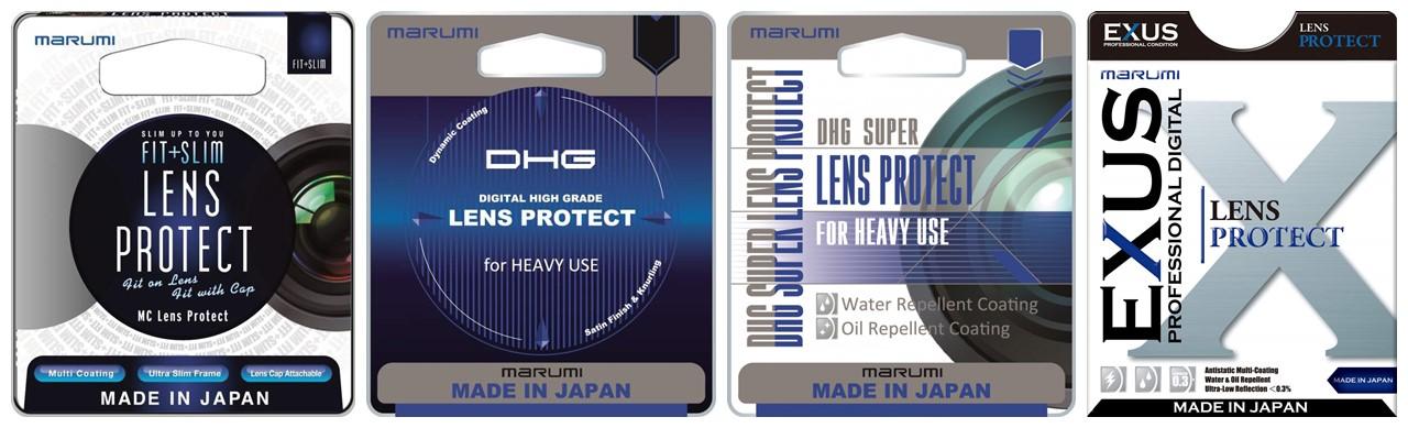 Na zdjęciu powyżej widzisz opakowania filtrów ochronnych Marumi (od lewej) z serii Fit + Slim, DHG, Super DGH i Exus. Różnią się one m.in. rodzajem i jakością zastosowanych powłok, co ma wpływ na ich cenę. Seria Marumi Exus to najbardziej zaawansowana seria filtrów, które posiadają aż 3 rodzaje powłok: oleofobową (przeciwtłuszczową), hydrofobową (przeciw zaciekom) i antystatyczną (przeciw kurzowi).